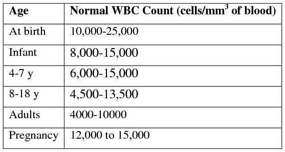 White blood cell count, wbc and bacterial infection